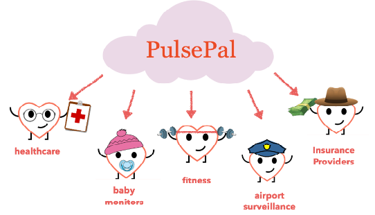 PulsePal graphic showing 5 anthropomorphic cartoon hearts labeled healthcare, baby monitors, fitness, airport surveillance, and insurance providers.