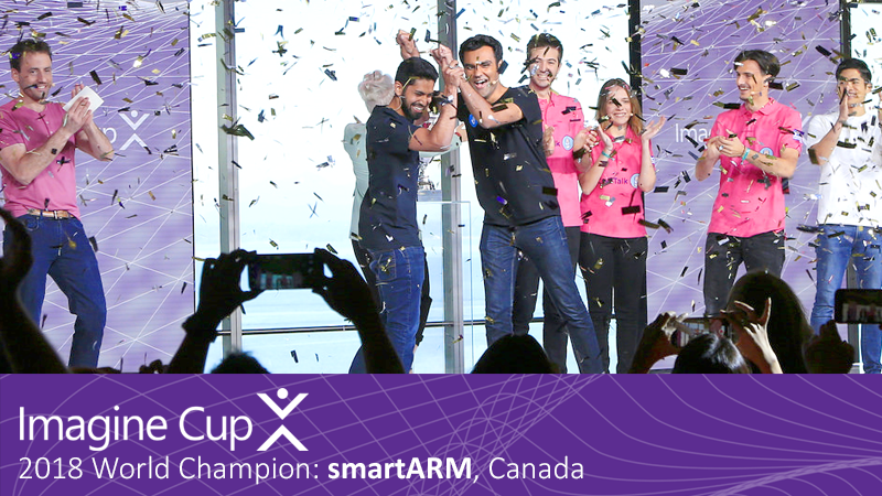 Photo of smartARM winning the 2018 Imagine Cup at the World Finals