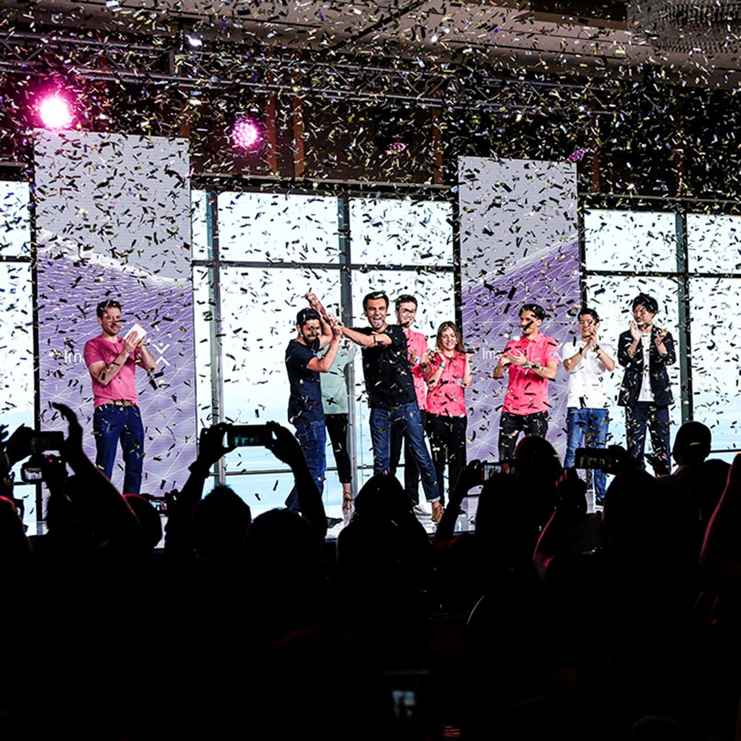 The winner, Team smartARM, on stage at the 2018 Imagine Cup